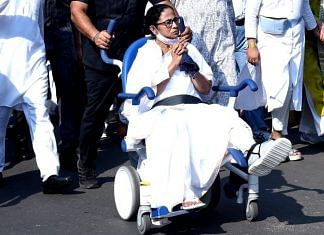 Mamata Banerjee during a roadshow in Kolkata, on 14 March 2021