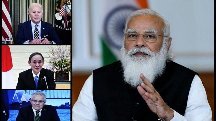 Prime Minister Narendra Modi during the first Quad Leaders' Virtual Summit with US President Joe Biden, Australian PM Scott Morrison and Japanese PM Yoshihide Suga, in New Delhi on 12 March. | Photo: ANI