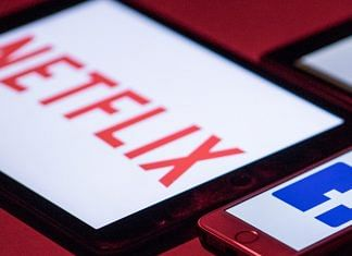 The logos for Facebook and Netflix on smartphone and tablet devices