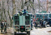 Security personnel during an encounter with militants at Khandipora Bjbehara in Anantnag District of South Kashmir, on 11 March 2021 | PTI