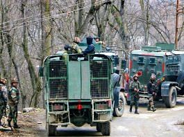 Security personnel during an encounter with militants at Khandipora Bjbehara in Anantnag District of South Kashmir, on 11 March 2021   PTI