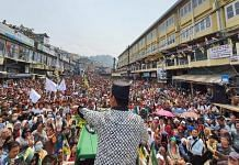 GJM (Bimal) chief Bimal Gurung addressing a rally in Darjeeling's super market area | Photo: Madhuparna Das/ThePrint