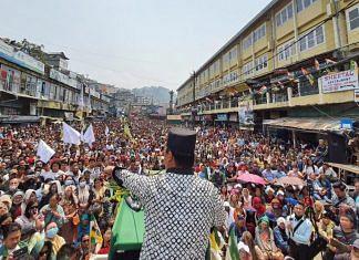 GJM (Bimal) chief Bimal Gurung addressing a rally in Darjeeling's super market area | Photo: Madhuparna Das/ThePrint