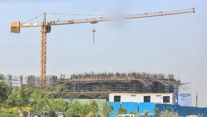 Construction work at one of the tallest residential tower in GIFT City in Gujarat. | Photo: Praveen Jain/ThePrint