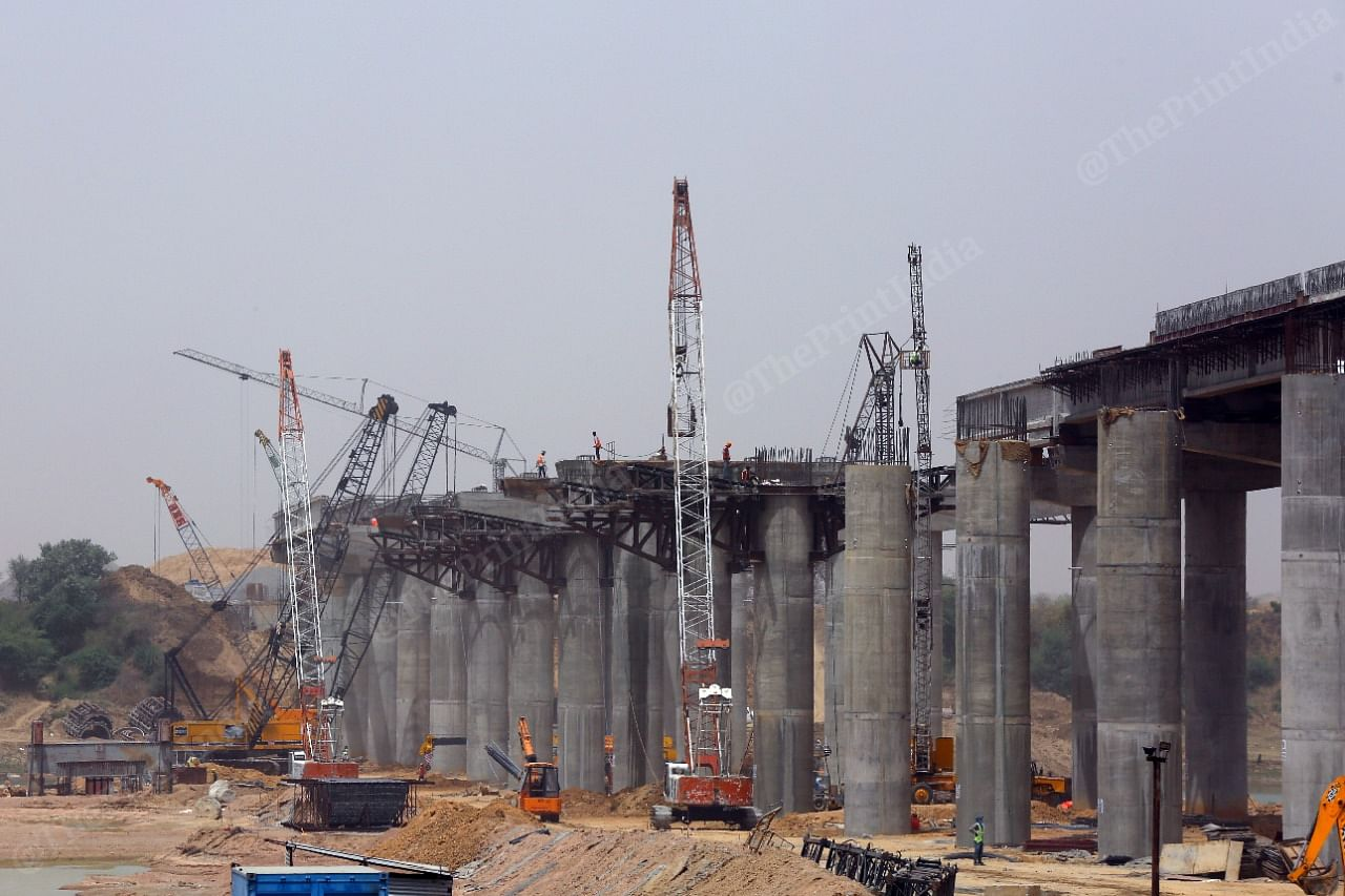 Construction ongoing on the Bundelkhand Expressway in Uttar Pradesh. | Photo: Suraj Singh Bisht/ThePrint