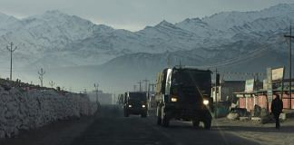 Representational image of an Indian Army convoy moving through Ladakh | Photo: ANI
