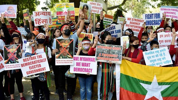 Representational image of refugees from Myanmar protesting against the military coup in that country in New Delhi | Photo: ANI