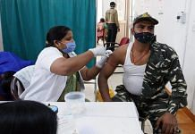 A CRPF trooper is vaccinated in Prayagraj on 6 April 2021 | Representational image | ANI