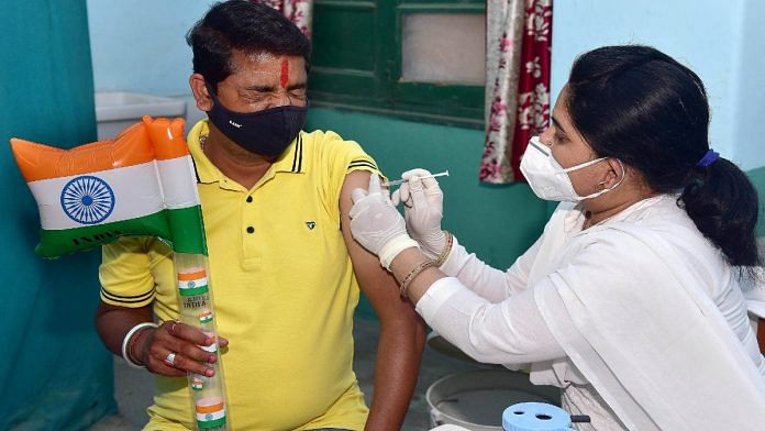 A beneficiary is vaccinated for Covid-19 in Bikaner, Rajasthan | Representational image | ANI