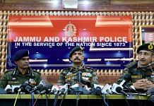 (From left) IGP Kashmir Vijay Kumar, GoC 15 Corps Lt Gen. D.P. Pandey and GoC 'Victor Force' Maj. Gen. Rashim Bali address a press conference in Srinagar Friday | Photo: ANI