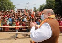 Union Home Minister Amit Shah during a roadshow in Nadia, West Bengal, 11 April 2021| PTI