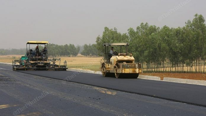 Construction ongoing on the Purvanchal Expressway in Uttar Pradesh. | Photo: Suraj Singh Bisht/ThePrint