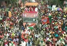 Amit Shah during a roadshow in North 24 Parganas district,