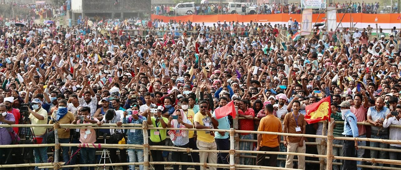 Crowds at a Congress rally in West Bengal on 14 April | @INCIndia | Twitter