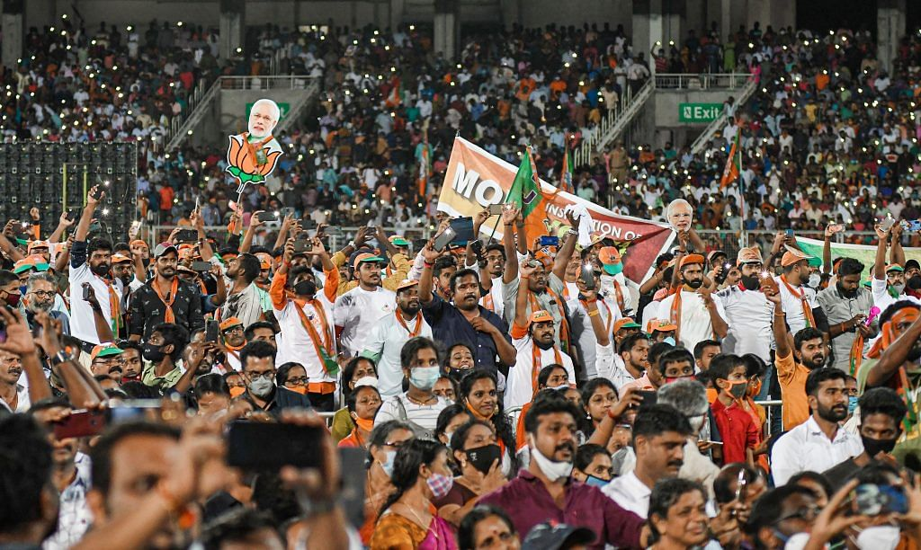 BJP supporters at an election campaign rally for the Kerala assembly polls on 2 April 2021 | PTI