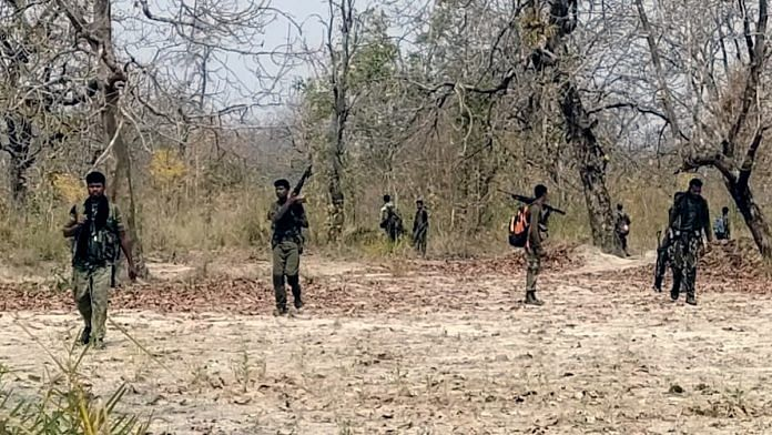 Security personnel at the site of Naxal attack at Sukma-Bijapur border on Sunday | ANI
