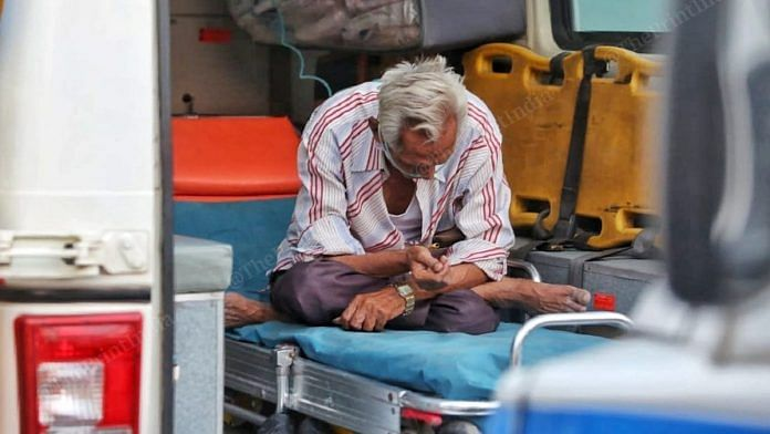 A Covid patient awaits hospital admission in an ambulance parked outside the Ahmedabad Civil Hospital | Representational image | Praveen Jain | ThePrint
