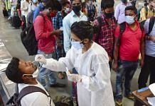 A health worker conducts Covid-19 testing at Chhatrapati Shivaji Maharaj Terminus in Mumbai, on 1 April 2021 | PTI