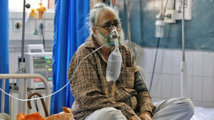 An elderly man on oxygen in a Jalandhar hospital   Photo: Manisha Mondal   ThePrint