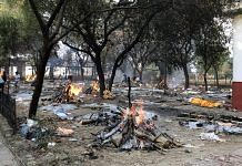 Funeral pyres at Mukti Dham crematorium in Lucknow | Photo: Jyoti Yadav | ThePrint