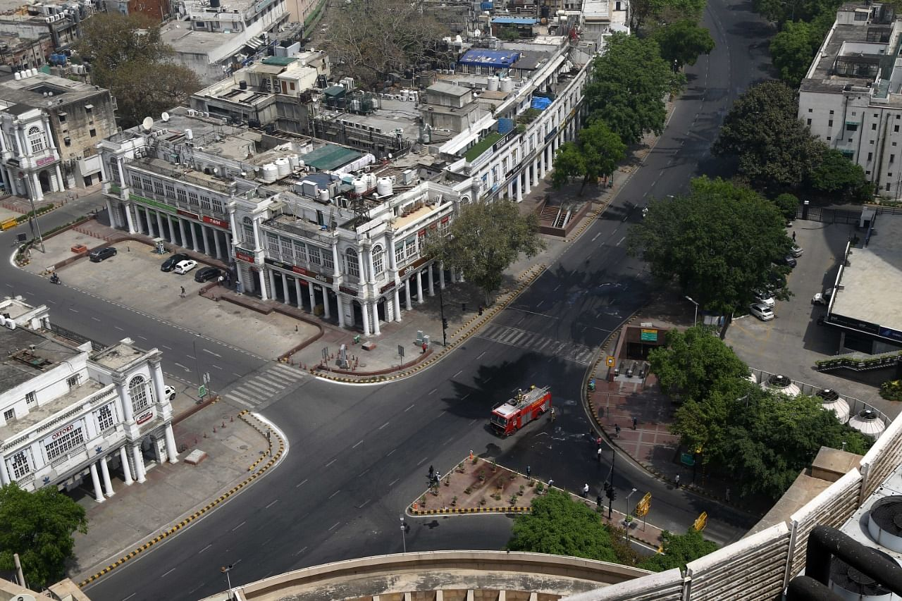 A shot of Connaught Place in New Delhi — usually seen teeming with people — during last year's lockdown   Praveen Jain   ThePrint