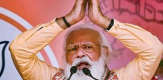 Prime Minister Narendra Modi addresses during an election campaign rally at Joynagar in South 24 Parganas district on 1 April 2021 | PTI