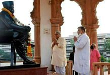 Newly-elected General Secretary of Rashtriya Swayamsevak Sangh (RSS) Dattatreya Hosabale pays tribute at Dr Hedgewar Smarak at RSS HQ, in Nagpur on 6 April 2021 | PTI