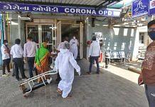 Hospital staff outside the Covid OPD of Ahmedabad Civil Hospital | Praveen Jain | ThePrint