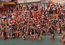 Crowds gather for the shahi snaan during the Kumbh Mela at Haridwar Wednesday | Simrin Sirur | ThePrint