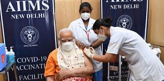 PM Modi being administered the second dose of Covid vaccine at AIIMS on 8 April 2021 | @narendramodi | Twitter