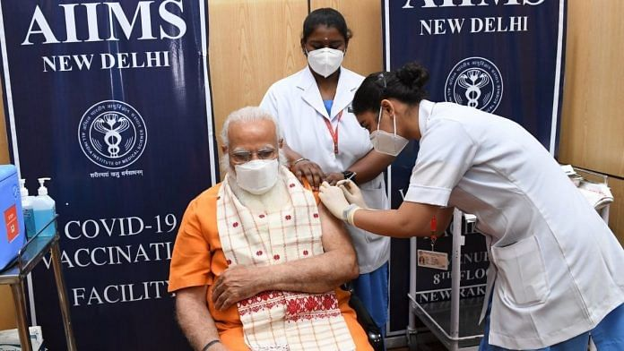PM Modi being administered the second dose of Covid vaccine at AIIMS on 8 April 2021   @narendramodi   Twitter