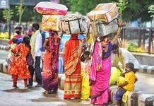 A family of migrant workers walk towards the railway station | Photo: Praveen Jain | ThePrint