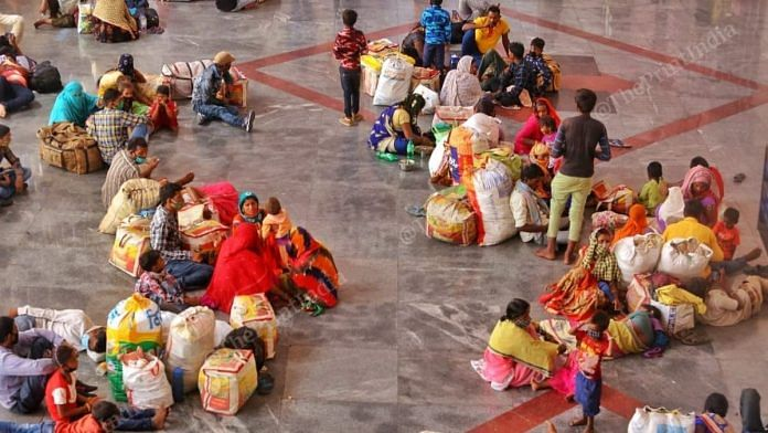 Migrant workers at the Ahmedabad Railway Station Saturday | Photo: Praveen Jain/ThePrint