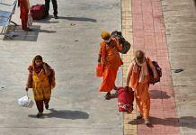 Seers returning from Kumbh at the Sabarmati Railway Station in Ahmedabad Sunday | Praveen Jain | ThePrint