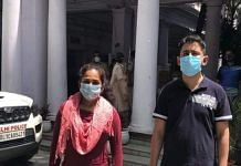 The Delhi couple who argued with police over masks Sunday seen at the Daryaganj station Monday | By special arrangement