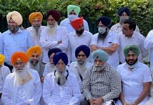 SAD (Democratic) chief Sukhdev Singh Dhindsa (front row, second from left) and SAD (Taksali) head Ranjit Singh Brahmpura (beside Dhindsa and in blue turban) along with other leaders of the breakaway factions   By special arrangement