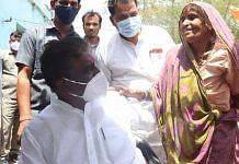 Health Minister Prabhuram Choudhary during his campaigning in Damoh | Twitter/@DrPRChoudhary