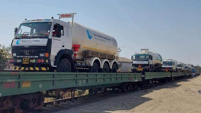 The trains carrying the oxygen tankers   Twitter/@RailMinIndia
