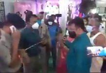 West Tripura District Magistrate Shailesh Kumar Yadav (third from left) stops the wedding in Agartala | Screengrab