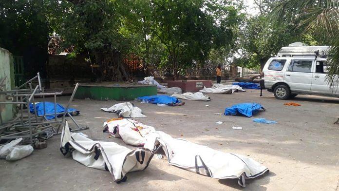 Bodies lying at the Bhairav Ghat crematorium Thursday evening | Photo: Moushumi Das Gupta/ThePrint