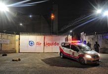 Police stand guard outside Air Liquide in Panipat, Haryana | Photo: Suraj Singh Bisht | ThePrint