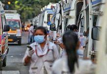 Ambulances lined up outside the Ahmedabad Civil Hospital Tuesday | Praveen Jain | ThePrint