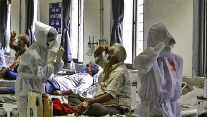 Representational image of patients at a Covid treatment facility   Praveen Jain   ThePrint file photo