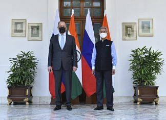 External Affairs Minister S Jaishankar and Russian Foreign Minister Sergey Lavrov at Hyderabad House on 6 April 2021 | Twitter: @ANI