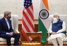 US Special Presidential Envoy for Climate John Kerry and PM Narendra Modi at a meeting in New Delhi, on 7 April, 2021 | PTI