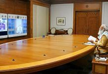 Prime Minister Narendra Modi chairs a COVID-19 review meeting, via video conferencing in New Delhi. | PTI