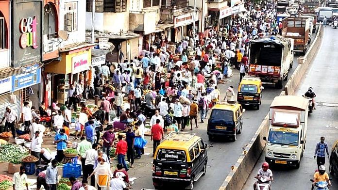 A crowded street at the Dadar vegetable market, in Mumbai on 3 April 2021 | Representational image | ANI Photo
