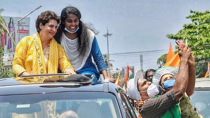 Priyanka Gandhi Vadra during election campaigning at Karunagappally in Kollam district on 30 March. | Photo: ANI