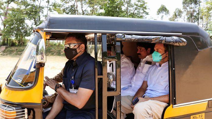 Congress leader Rahul Gandhi rides an auto-rickshaw at Kalpetta, Wayanad on 4 April 2021   PTI Photo