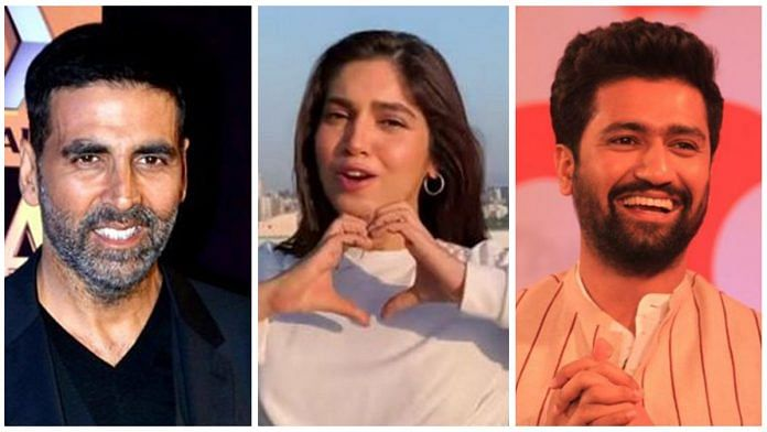 From left to right: Akshay Kumar, Bhumi Pednekar and Vicky Kaushal, three Bollywood actors who have confirmed that they have Covid. Photo: ThePrint